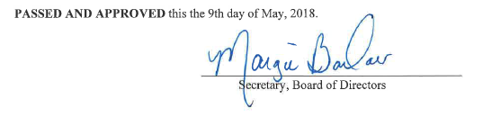 Secretary, Board of Directors Signature